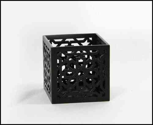 Wooden cube M brown with LED light