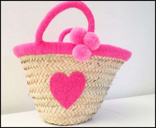 Basket bag for kids neon pink