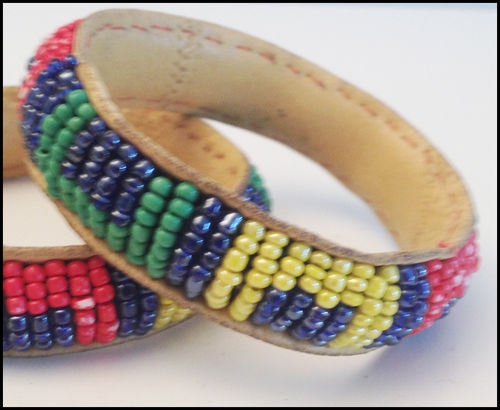 "Bracelet  leather and perls "" Mama Africa"" yellow blue black green white"