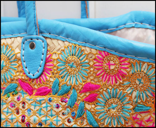 Basket bag embroidered