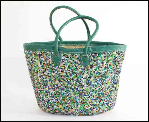 Sequin Basket bag aqua