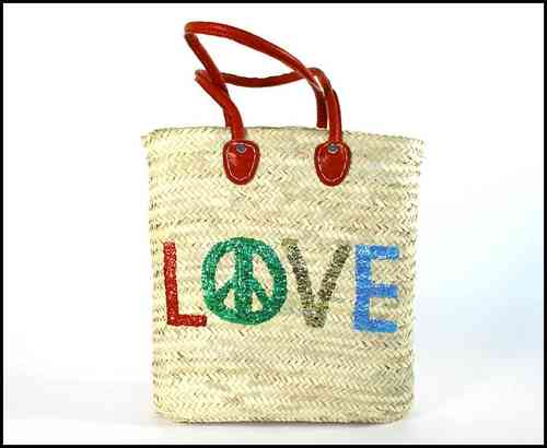 Sequin Basket bag Love and Peace
