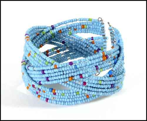Bracelet with beads lightblue
