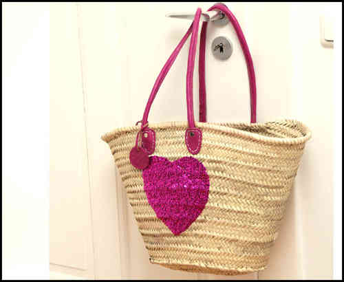 Basket bag pink heart  (sequin heart red)